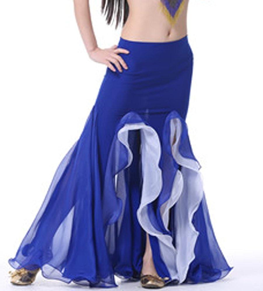 AvaCostume Bollywoodダンスコスチュームベリーダンスフィッシュテールマキシスカート2レイヤ B01171NDUE ブルー