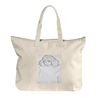 Girls Head (Klimt) Canvas Beach Zipper Tote Bag Tote chic