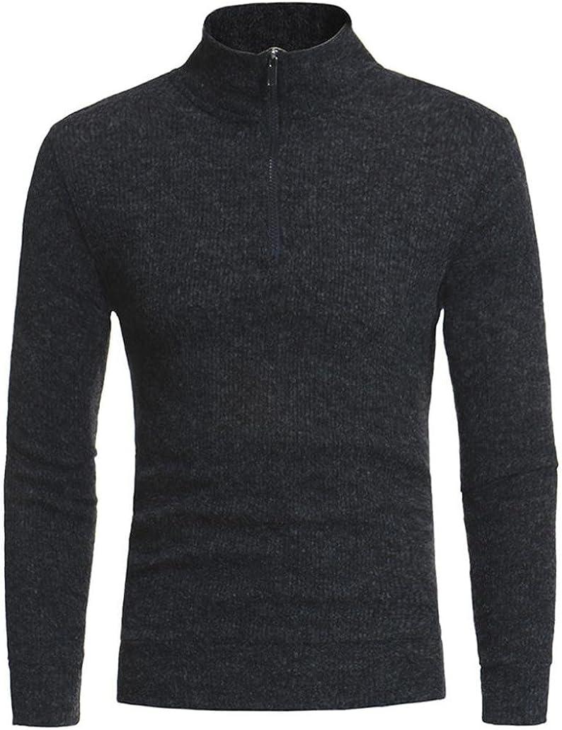 BCDshop Mens Winter Zipper Sweaters Warm Fashion Casual High-collar Tops Blouse