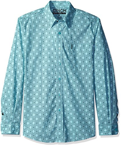 Cinch Horse Tack (Cinch Men's Modern Fit Long Sleeve Button One Open Pocket Print Shirt, Blue Diamonds, Small)