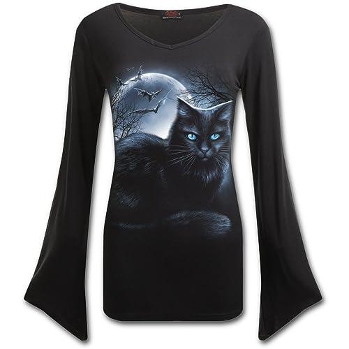 Mística luz de la luna, gótico damas ángel fantasía de metal negro de manga larga - XXL - Espiral