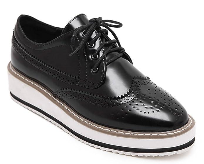 Easemax Damen Fashionable Runde Zehen Durchgängiges Plateau Brogue Sneakers Schwarz 36 EU w2lqjpU2