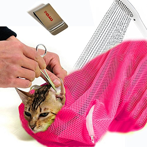 E'Plaza Adjustable Polyester Pet Cat Washing Mesh Bags for Cat Body Washing Cleaning Bathing Nail Trimming Ears