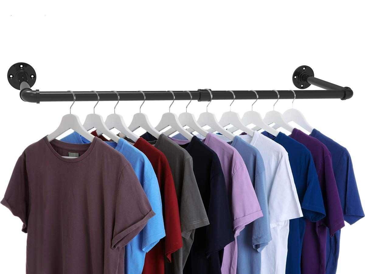 """Industrial Pipe Clothes Rack, Heavy Duty Wall Mounted Black Iron Garment Rack, Clothing Hanging Rod Bar for Laundry Room, Closet Storage - 38"""" L, Max load 150 lbs"""