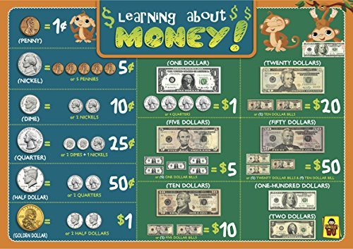 UNCLEWU  Learning About Money Placemats - Educational Kids Placemats