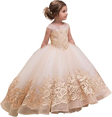 Flower Girl Dress Princess Wedding Bridesmaid Party Communion Long Trailing Gown