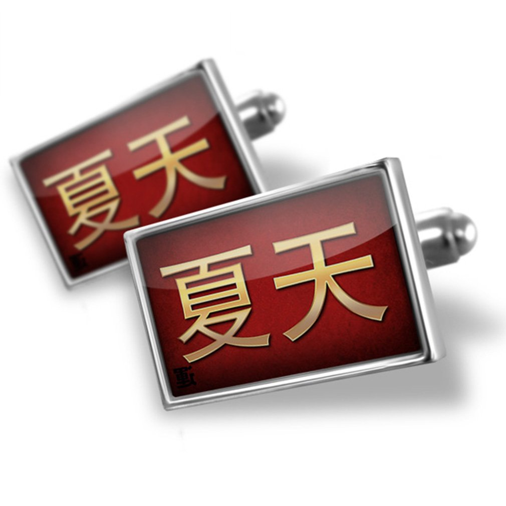 Cufflinks Summer Chinese characters, letter red / yellow - Neonblond