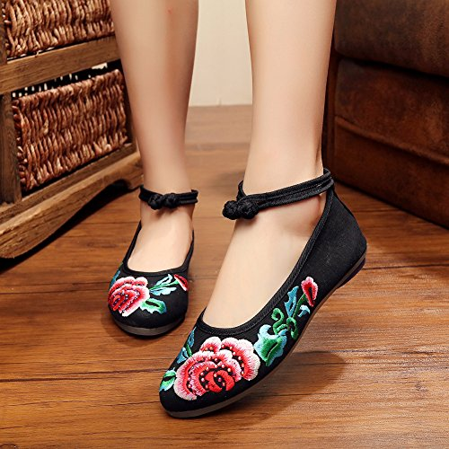 Toe Mary Rubber Point Shoes Black Jane AvaCostume Womens Flats Embroidery 71xqqTvw