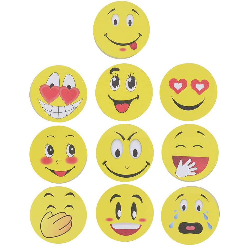 Smiley Sticky Notes, Cute Smile Face Self-Stick Removable Note Pads - 10 Pads - 100 Sheets Per Pads (10 Pack)