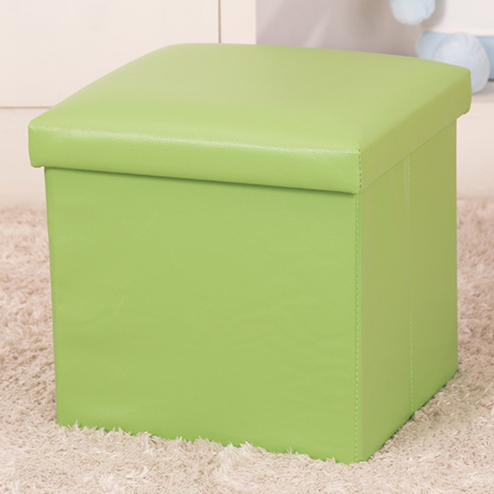 WER Faux Leather Folding Storage Ottoman Cube Foot Rest Stool Seat 12''x 12''x 12''(Green)