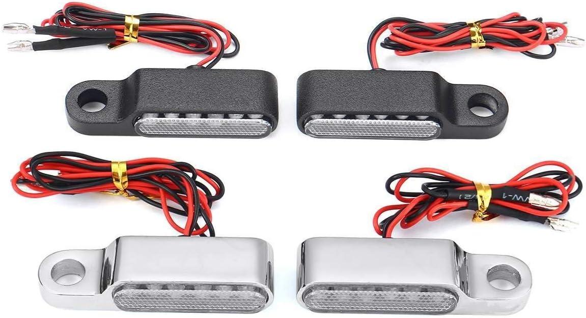 2PCS 12V Gelb-Signal-Lampen Motorrad-Anzeigen L-E-D Blinkerlicht Lenker Blinker Aluminium-Legierung Schwarz//Chorme JBZXD Color : Black