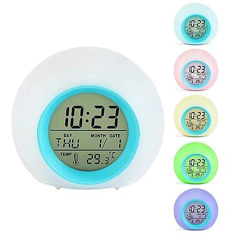 ALHXF Reloj Despertador para NiñOs, Reloj Despertador Digital 7 Colores Que Cambian La Naturaleza Sonidos