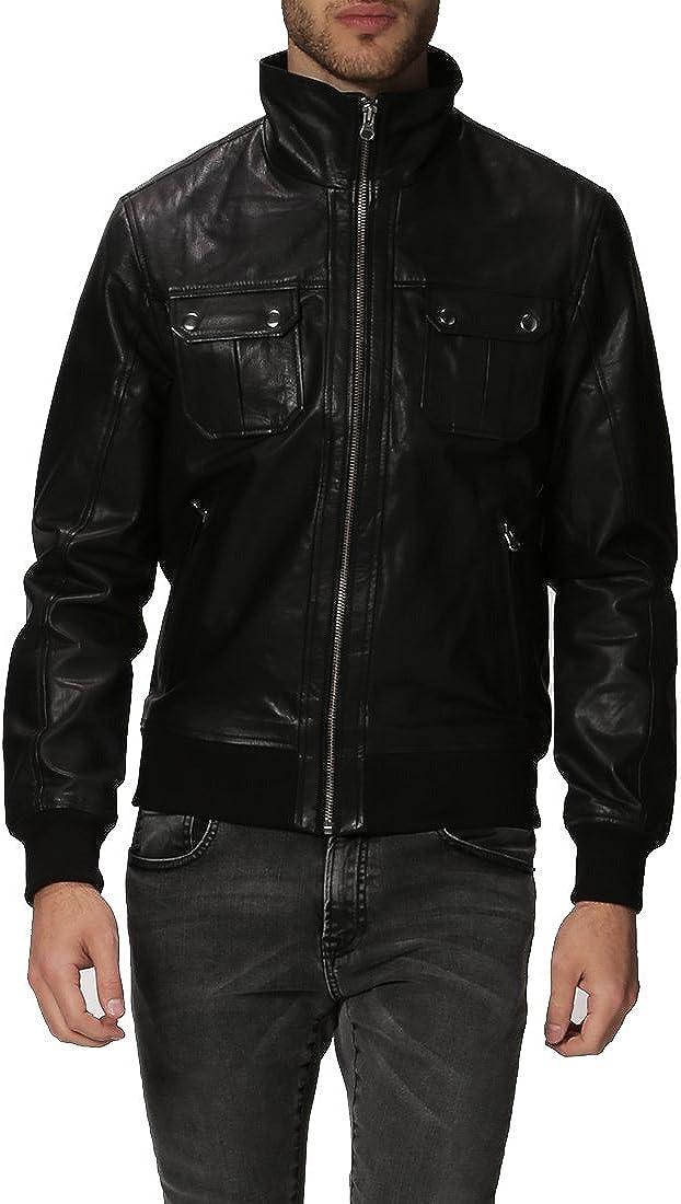 Mens Genuine Lambskin Leather Jacket Slim fit Motorcycle Jacket P168