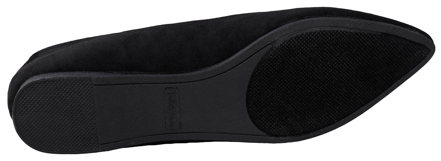 Bella Marie BellaMarie Angie-28 Women's Classic Pointy Toe Ballet Flat Shoes Black Suede 9 B(M) US by Bella Marie (Image #6)