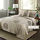 Brandream King Size Taupe Bed Quilt Set Shabby Coverlet Set 100% Cotton Bedding Sets