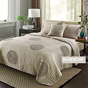 Amazon.com: Brandream King Size Taupe Bed Quilt Set Luxury ... : amazon king size quilts - Adamdwight.com