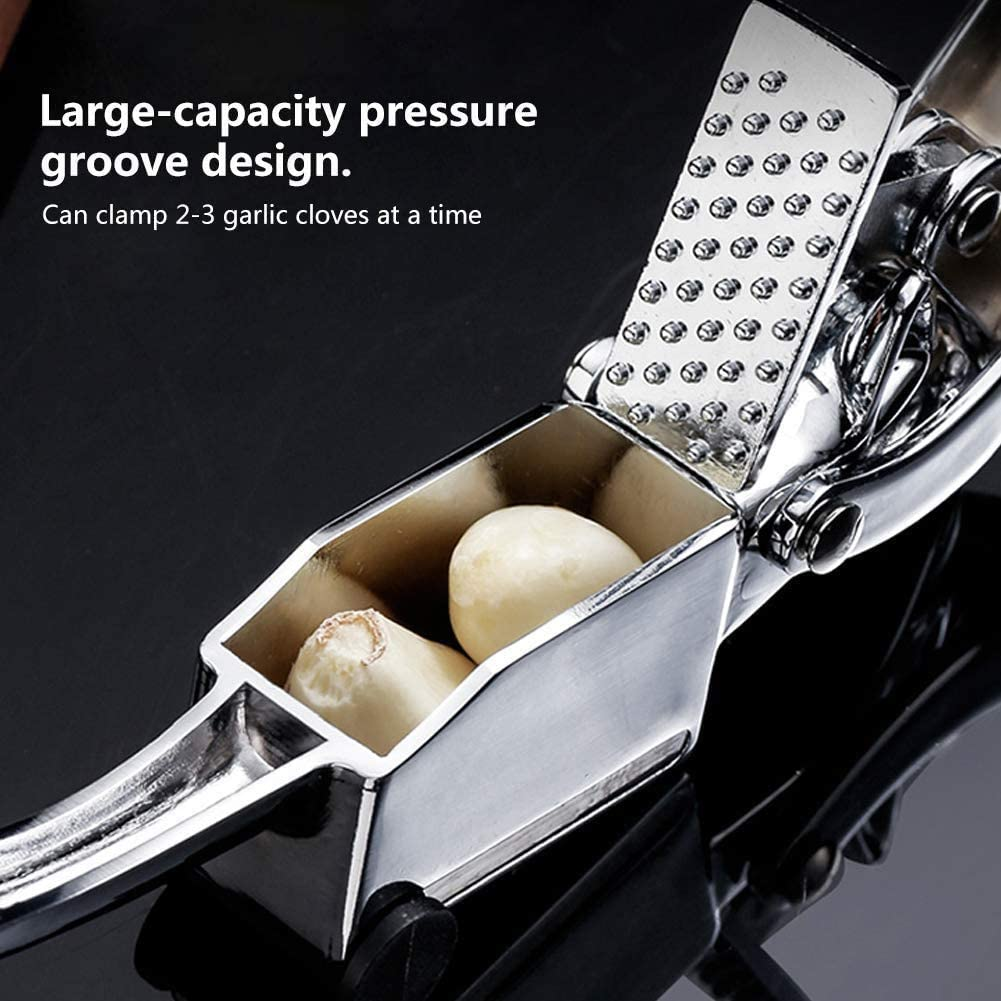 Professional Grade Garlic Crusher YIWULA Garlic Press Stainless Steel Dishwasher Safe Easy to Clean Easy Squeeze Rust Proof Garlic Tools Kitchen Garlic Mincer Tool with Round Hole