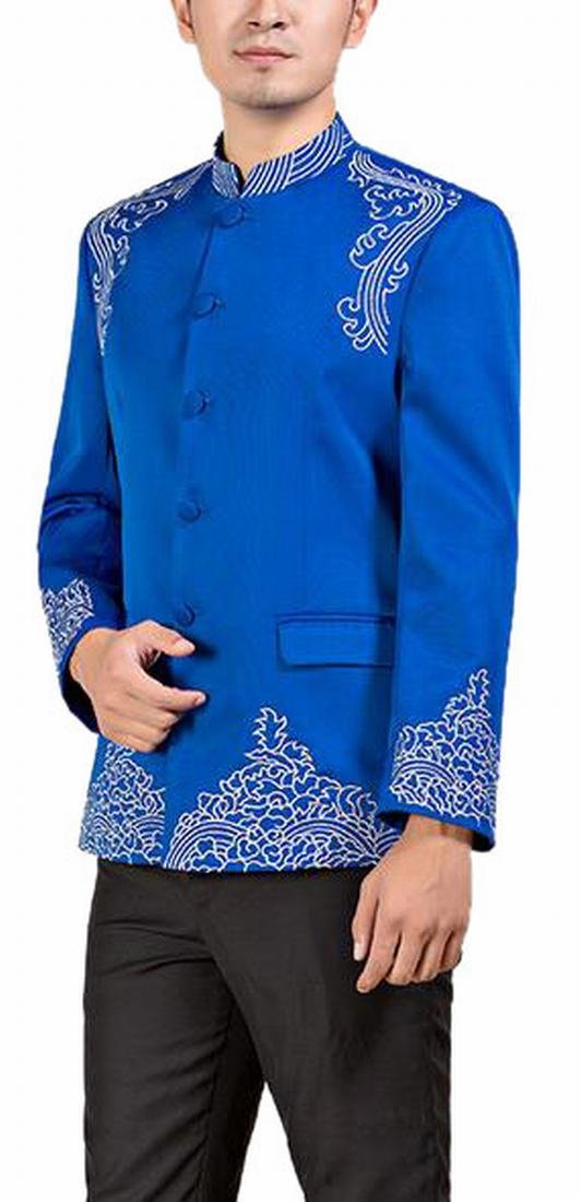 Ptyhk RG Mens Classic Embroidery Wedding Chinese Tunic Suit and Pants Set Blue M