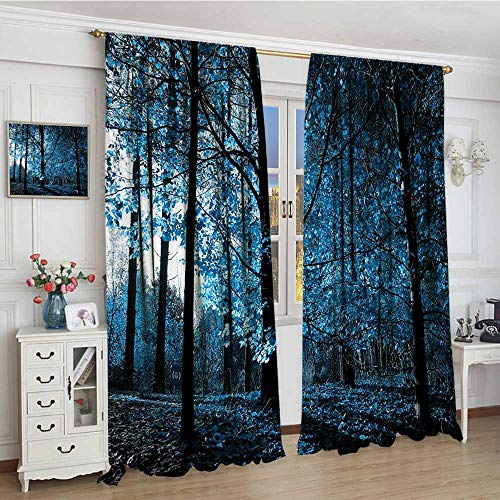 smallbeefly Woodland Waterproof Curtain One September Afternoon in Woodland Autumn Nature Artistic Stylized Picture Print Lengthened Customized Curtains 96