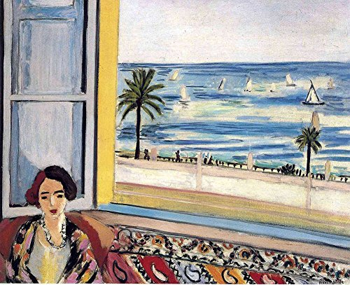Henri Matisse - Seated Woman Back Turned to the Open Window, Size 20x24 inch, Canvas art print wall décor