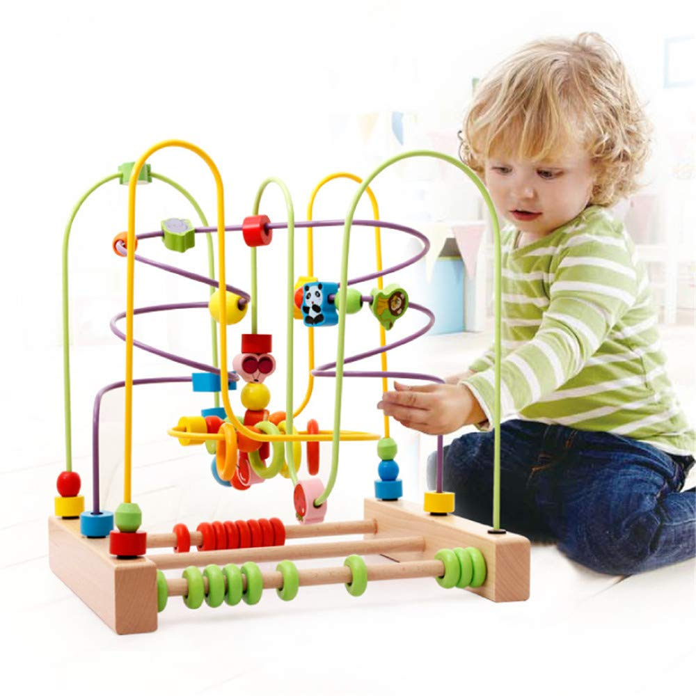 Techecho Circle Bead Maze Toy Cute Insect Toy Wooden Beads Roller Coaster Game for Kids 3 Years Old Girl Wooden Educational Toy