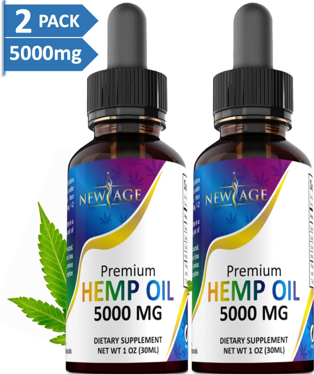(2-Pack) 5000mg Hemp Oil Extract for Pain, Anxiety & Stress Relief - 5000mg of Pure Hemp Extract - Grown & Made in USA - 100% Natural Hemp Drops - Helps with Sleep, Skin & Hair. by New Age