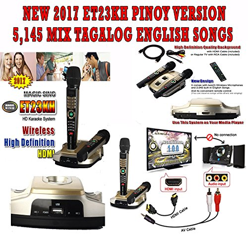 2017 Magic Sing ET23KH ENGLISH TAGALOG 5145 Songs 2 Wireless Mic HDMI KARAOKE …