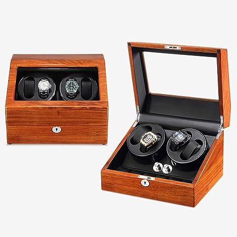 L.TSA Caja de enrollador de Reloj automático Enrollador de Reloj para 4 Relojes 6 Relojes con Almohadas de Cuero Motor silencioso 5 Modos de rotación: Amazon.es: Deportes y aire libre