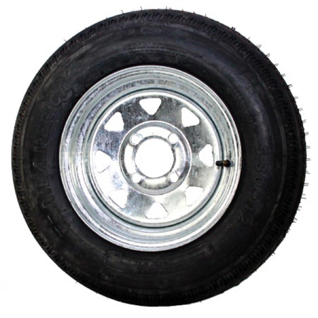 12 x 4 Galvanized Steel Spoke Trailer Wheel 4 Lug w/ 4.80-12 Trailer Tire LR C Package TBC