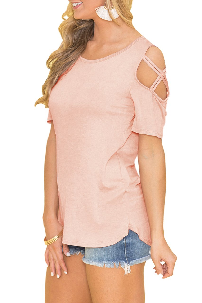 Built Clear Women's Summer Short Sleeve Cold Shoulder T Shirt Casual Simple Basic Tunic Shirts Tops