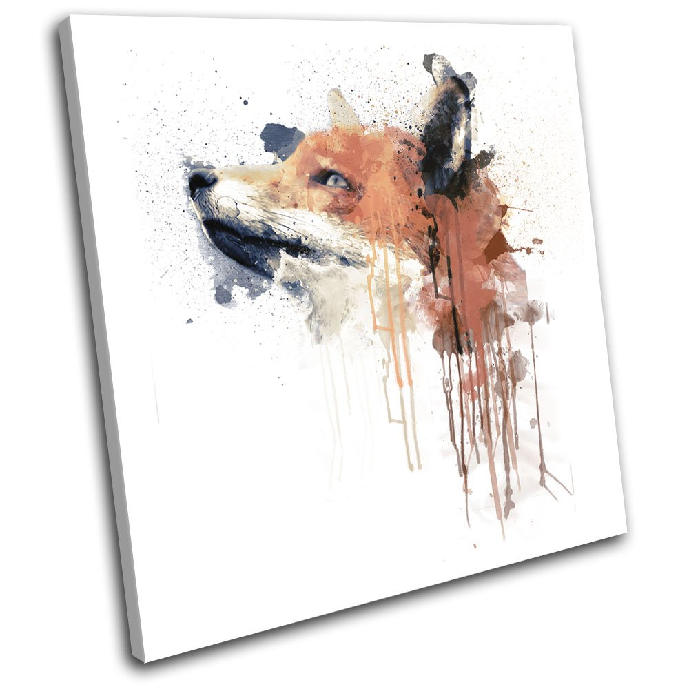 Bold Bloc Design - Fox Paint Forest Abstract Animals 40x40cm SINGLE Canvas Art Print Box Framed Picture Wall Hanging - Hand Made In The UK - Framed And Ready To Hang Bold Bloc Design Ltd.