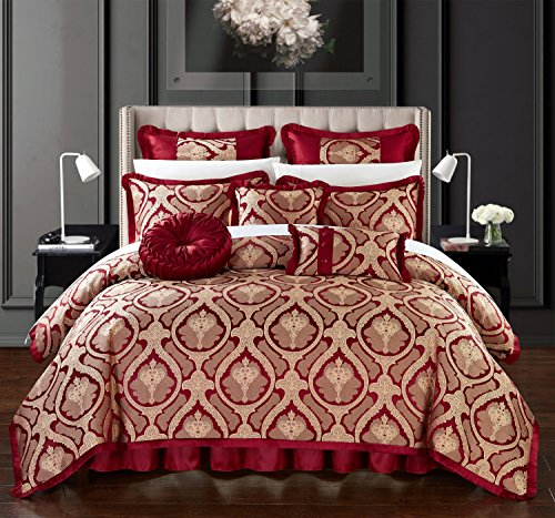 Chic Home Tyler 13 Piece Comforter Set Jacquard Scroll Faux Silk Bed in a Bag Bedding with Pleated Flange - Sheets Bed Skirt Decorative Pillows Shams Included, Queen Red