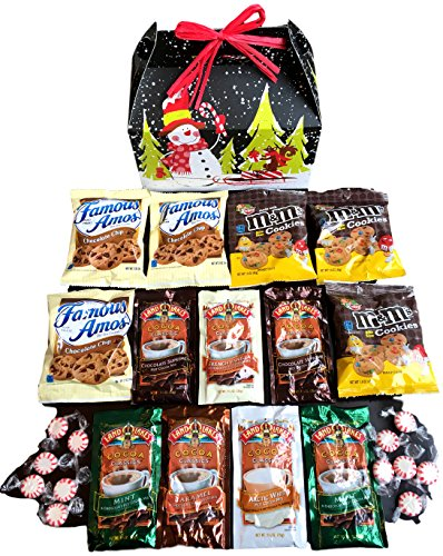 Hot Cocoa & Cookies Holiday Snowman Care Package features fun Gift Box stuffed with cocoa, cookies, and peppermint candy, the perfect holiday Christmas gift for college student, military, co-worker Christmas Cookies