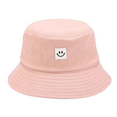 Sttech1 Womens Solid Color Cotton Caps Smile Printed Sunscreen Fisherman Hat for Hiking, Outdoor Pink: Clothing