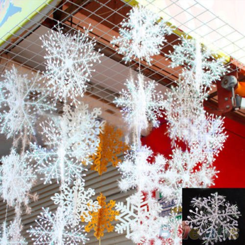 30Pcs White Snowflake Ornaments Christmas Holiday Festival Party Home Decor 2Myz^.