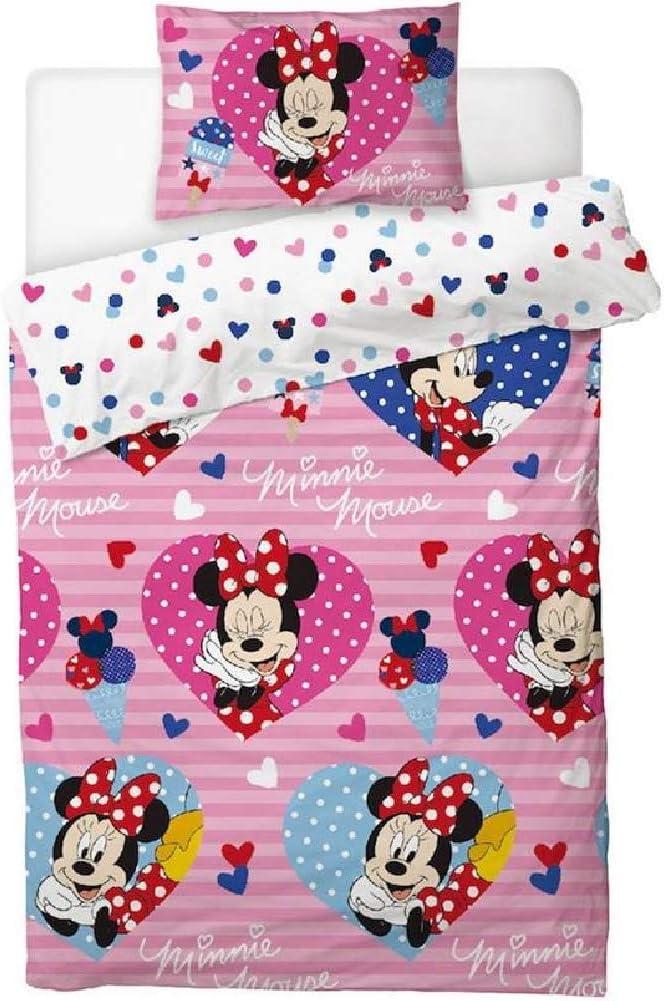 Disney Parure de lit 1 Personne Motif Minnie Mouse Love Hearts