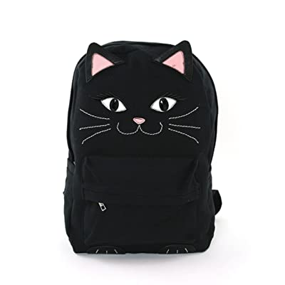 Black Kitty Cat Face Water Resistant Fabric Zipper Top Closure Backpack