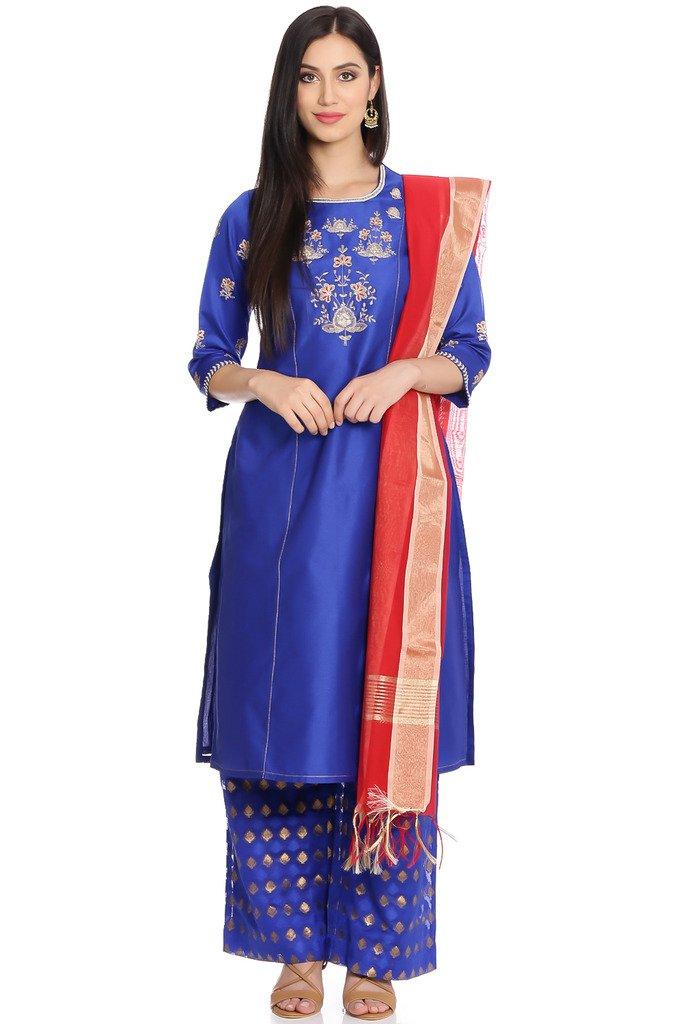 BIBA Women's Straight Poly Cotton & Viscose Suit Set 38 Blue