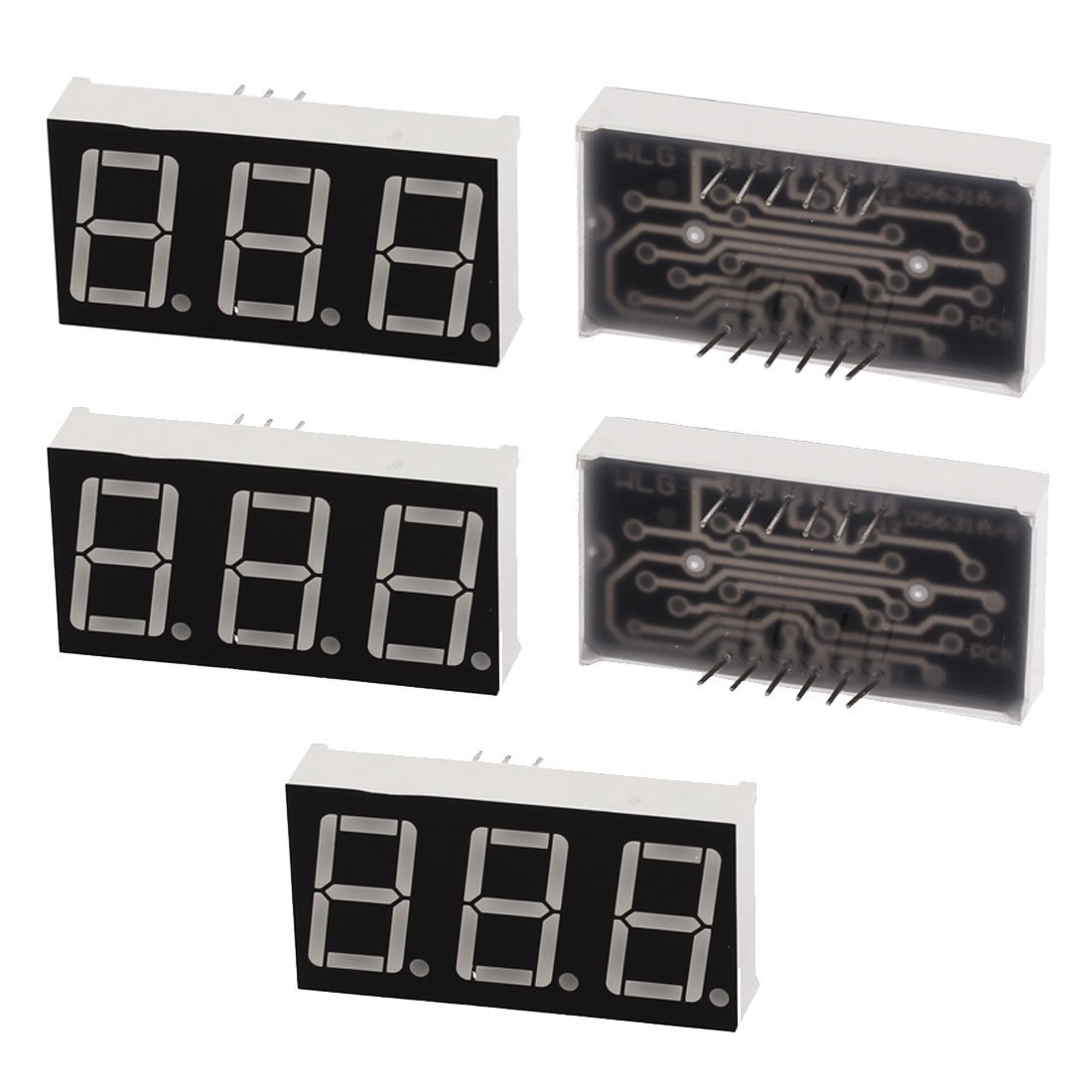 Uxcell a15111200ux0534 Double Row 12 Pin 7 Segments 3 Digits LED Numeric Display Module, 5 Piece, Blue