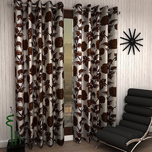 Super India Roses 1 Piece Eyelet Polyester Door Curtain – 7ft , Brown