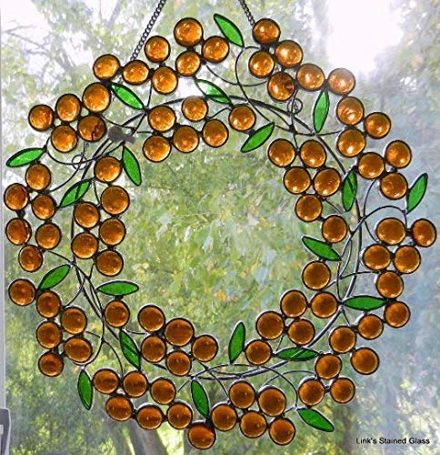 Stained Glass Berry Wreath Sun Catcher, Amber