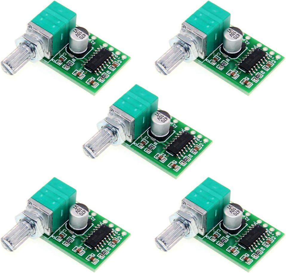 Acxico 10Pcs Mini PAM8403 DC 5V Power Audio Amplifier Board Digital Power Amp Module 2 Channel 3W+3W Volume Control with Potentiometer