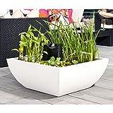 Heissner 015179-00 Bella Garten/Terrassen Brunnen Wassergarten 75 x 75 x 30cm, weiß
