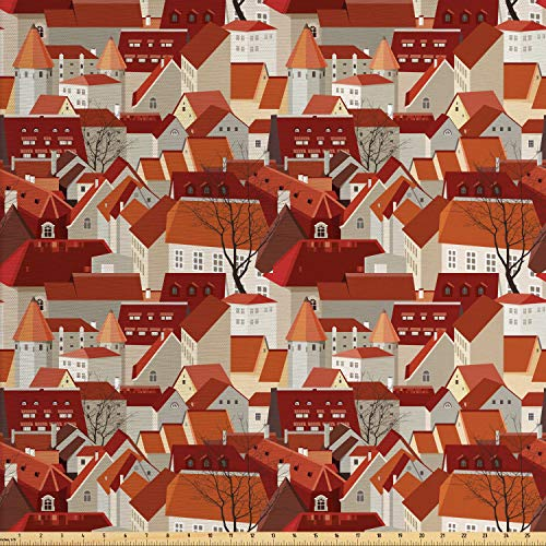 Ambesonne City Fabric by The Yard, Landscape Illustration with Tile Roof Pattern Urban Architecture Ornamental Design, Decorative Fabric for Upholstery and Home Accents, 3 Yards, Multicolor