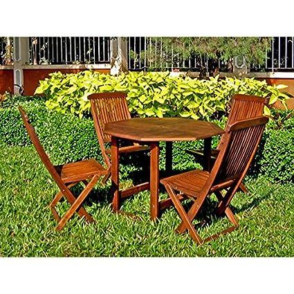 International Caravan Acacia 5 Piece Stowaway Patio Furniture Set