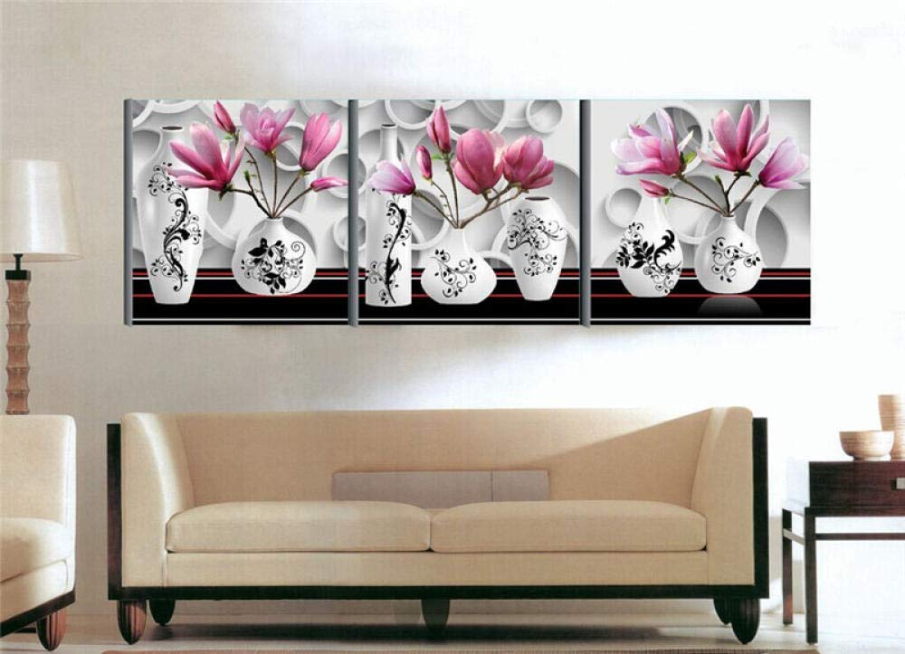 Mosaic Diamond Painting Diamond Painting Embroidery Three Pice Pictures of Rhinestones Flowers Vase Combination Triptych Decoration Cube Drill@40X40_Bagpack by YANJUNHONG