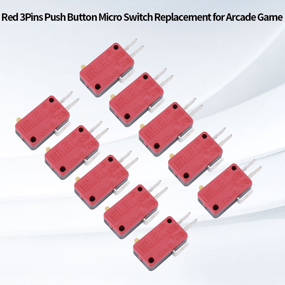 Hilitand 10Pcs Red 3Pins Push Button Micro Switch Replacement for Arcade Game