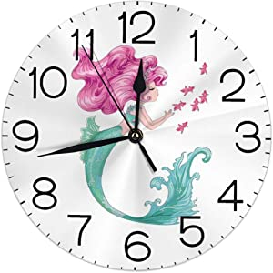 Dujiea Mermaid Fish Round Wall Clock Silent Non Ticking Battery Operated 9.5 Inch for Student Office School Home Decorative Clock Art