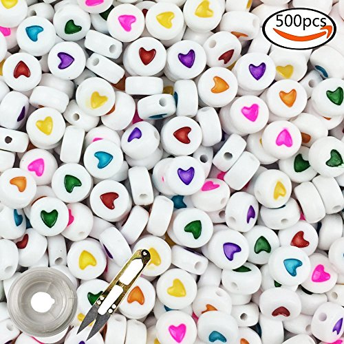 Colorful Acrylic Beads - WXBOOM 4x7mm White Oblate Beads with Colorful Heart Beads Acrylic Beads with 1 Pair of Scissors and 1 Roll of Elastic Thread (500pcs)