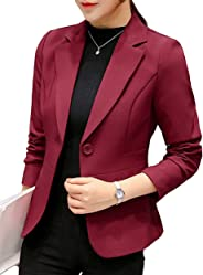 Uni-Wert Women's Blazer Casual Business Lapel Long Sleeve One Button Work Office Jacket
